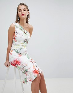 Кружевное платье миди на одно плечо Lipsy - Мульти