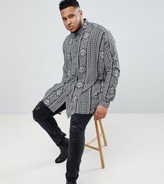 Oversize-рубашка из вискозы с заниженной линией плеч и принтом пейсли ASOS DESIGN Plus - Черный