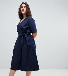 Хлопковое платье миди с запахом ASOS DESIGN Curve - Темно-синий
