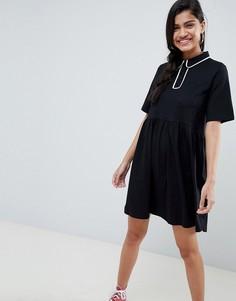 Свободное платье поло с контрастной окантовкой ASOS DESIGN - Черный