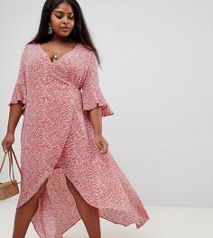 Платье с запахом и принтом вишни Glamorous Curve - Оранжевый