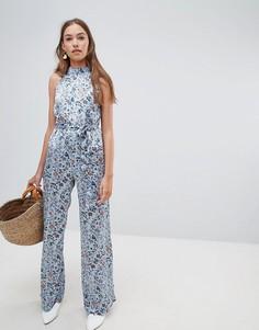 Комбинезон с цветочным принтом и широкими штанинами Glamorous - Синий