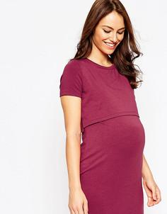 Двухслойное облегающее платье для беременных ASOS Maternity - Красный