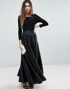 Платье макси с контрастной юбкой Traffic People - Черный
