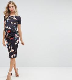 Облегающее платье с цветочным принтом и короткими рукавами Bluebelle Maternity - Мульти