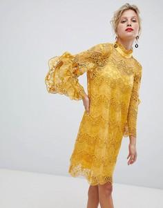 Кружевное платье с оборками на рукавах Yas - Желтый Y.A.S