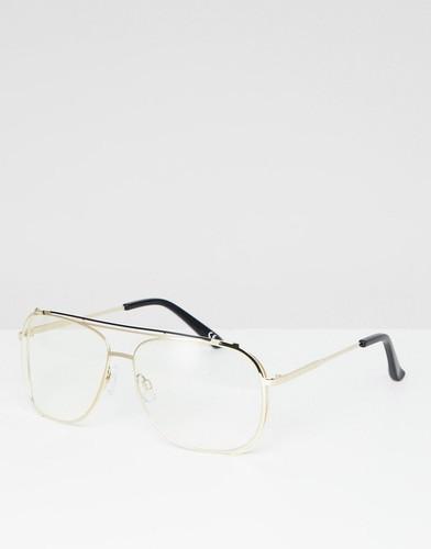 Металлические золотистые очки с прозрачными стеклами ASOS DESIGN - Золотой