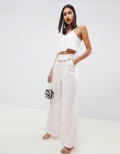 Мягкие брюки с широкими штанинами и отворотом на поясе ASOS DESIGN Tailored - Розовый