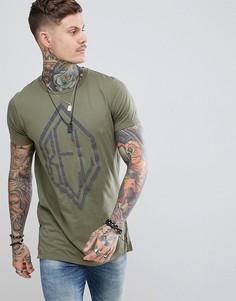 Обтягивающая футболка цвета хаки с разрезами Religion - Зеленый
