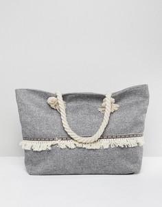 Парусиновая сумка-тоут с бахромой и веревочными ручками South Beach - Черный