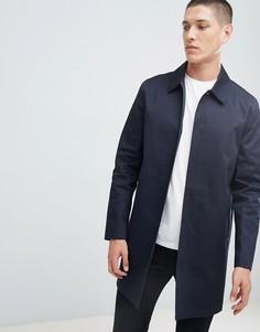 Темно-синий хлопковый макинтош с однобортным дизайном New Look - Темно-синий