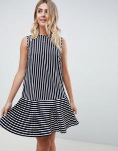 Платье мини в полоску с плиссировкой ASOS DESIGN - Мульти