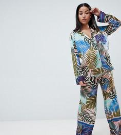Атласный пижамный комплект с тропическим принтом ASOS DESIGN Maternity - Мульти