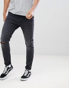 Серые джинсы скинни с рваной отделкой Only & Sons - Серый