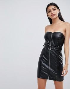 Черное платье мини бандо из полиуретана Lasula - Черный