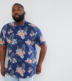 Темно-синяя футболка с тропическим принтом Duke King Size - Темно-синий
