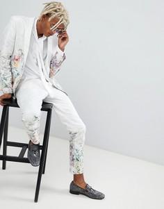 Белые жаккардовые брюки зауженного кроя с цветочным принтом ASOS - Белый