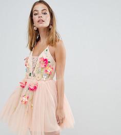 Платье мини из тюля с 3D цветком ASOS DESIGN Petite - Розовый