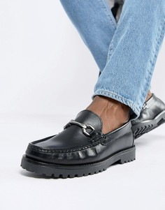 River Island loafer with heavy sole detail in black - Черный