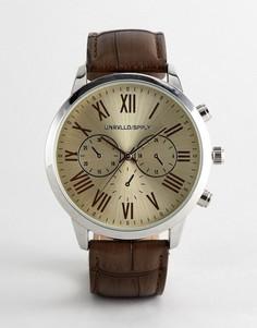 Часы в винтажном стиле с коричневым ремешком под кожу крокодила ASOS DESIGN - Коричневый