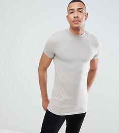 Обтягивающая футболка с высоким воротом ASOS DESIGN Tall - Бежевый