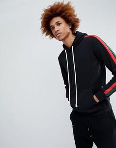 Criminal Damage hoodie in black with side stripe - Черный