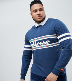 Темно-синяя футболка-поло с длинными рукавами и логотипом ellesse Plus - Темно-синий