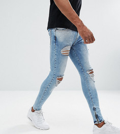 Голубые супероблегающие рваные джинсы Rose London эксклюзивно для ASOS - Синий