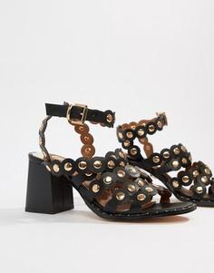 Черные босоножки на каблуке с фигурными кромками River Island - Черный