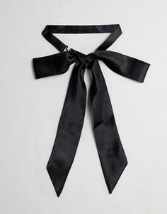 Черный сатиновый галстук-бабочка в стиле oversize ASOS DESIGN - Черный