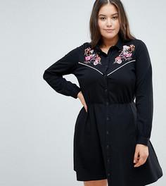 Платье-рубашка с вышивкой ASOS DESIGN Curve - Мульти