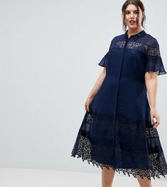Приталенное платье-рубашка с кружевными вставками ASOS DESIGN Curve - Темно-синий