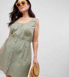 Платье мини на кнопках ASOS DESIGN Curve - Зеленый