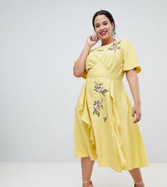 Платье миди с вышивкой и оборками ASOS Design Curve - Желтый