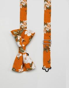Желтый галстук-бабочка с цветочным принтом ASOS DESIGN - Желтый