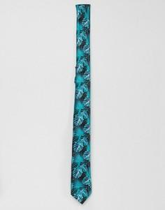 Узкий галстук с лиственным принтом ASOS DESIGN - Черный