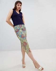 Кружевная юбка-карандаш с тропическим узором River Island - Зеленый