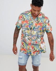 Oversize-рубашка с отложным воротником и гавайским цветочным принтом ASOS DESIGN - Синий
