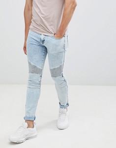 Выбеленные синие джинсы скинни в байкерском стиле ASOS DESIGN - Синий
