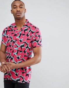 Рубашка классического кроя из вискозы с принтом арбузов ASOS DESIGN - Розовый
