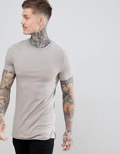 Бежевая длинная обтягивающая футболка с закругленным краем ASOS DESIGN - Бежевый
