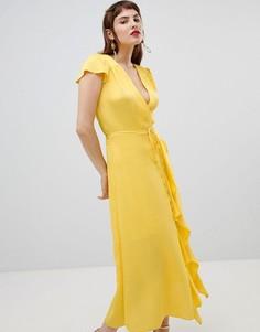Платье с запахом и оборками River Island - Желтый