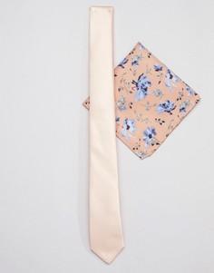 Персиковый узкий галстук и платок для пиджака с цветочным принтом ASOS DESIGN wedding - Розовый