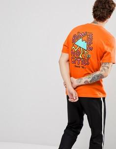 Оранжевая футболка с принтом на спине Element - Оранжевый
