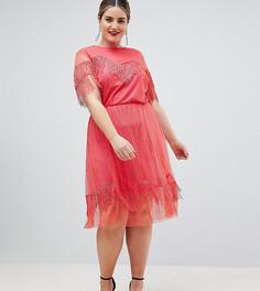 Кружевное чайное платье с бахромой ASOS DESIGN Curve - Красный