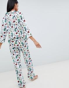Пижамный комплект из 100% модала ASOS DESIGN Frida Kahlo - Мульти