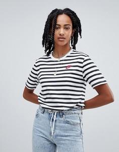 Черно-белая футболка в полоску Nike 90S - Черный