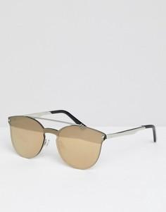 Круглые солнцезащитные очки в черепаховой оправе с зеркальными стеклами ASOS DESIGN - Коричневый