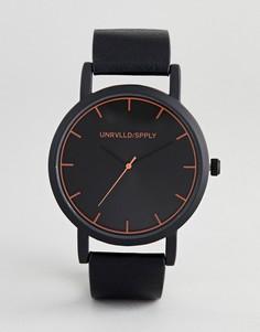 Однотонные черные часы с оранжевой разметкой ASOS DESIGN - Черный