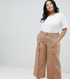 Широкие брюки на пуговицах ASOS DESIGN Curve - Коричневый